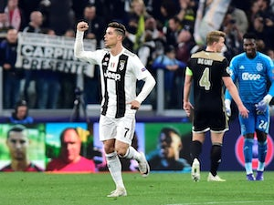 Cristiano Ronaldo celebrates after scoring Juventus's opening goal against Ajax on April 16, 2019