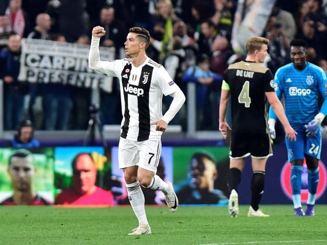 Cristiano Ronaldo celebrates after scoring Juventus's opening goal against Ajax on April 16, 2019
