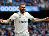 Karim Benzema celebrates scoring for Real Madrid on April 21, 2019