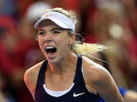 Great Britain's Katie Boulter celebrates victory on April 21, 2019
