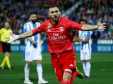 Karim Benzema celebrates scoring Real Madrid's equaliser against Leganes on April 15, 2019