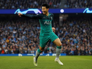 Tottenham Hotspur's Son Heung-min celebrates scoring against Manchester City in the Champions League on April 27, 2019