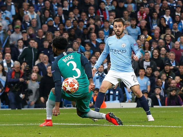 Manchester City attacker Bernardo Silva scores against Tottenham Hotspur in the Champions League on April 17, 2019