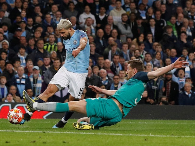 Manchester City's Sergio Aguero scores against Tottenham Hotspur in the Champions League on April 17, 2019