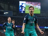 Tottenham Hotspur's Fernando Llorente celebrates scoring against Manchester City in the Champions League on April 17, 2019