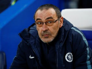 Curious Chelsea manager Maurizio Sarri on April 18, 2019