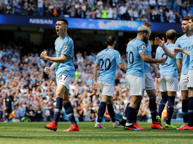 Manchester City's Phil Foden celebrates scoring against Tottenham Hotspur in the Premier League on April 20, 2019.