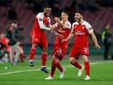 Alexandre Lacazette celebrates after opening the scoring for Arsenal away to Napoli on April 18, 2019