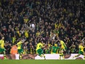 Norwich's Mario Vrancic celebrates scoring their second goal against Sheffield Wednesday on April 19, 2019