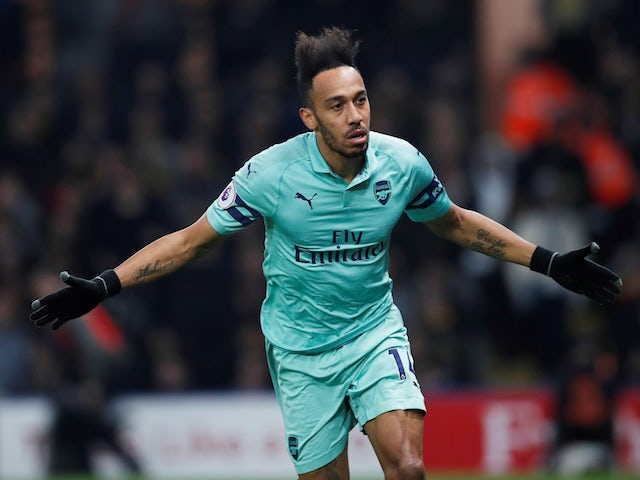 Arsenal striker Pierre-Emerick Aubameyang celebrates scoring against Watford on April 16, 2019