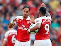 Pierre-Emerick Aubameyang pulls one back during the Premier League game between Arsenal and Crystal Palace on April 21, 2019