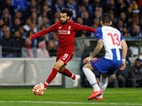 Liverpool's Mohamed Salah on the ball against Porto in the Champions League on April 17, 2019.
