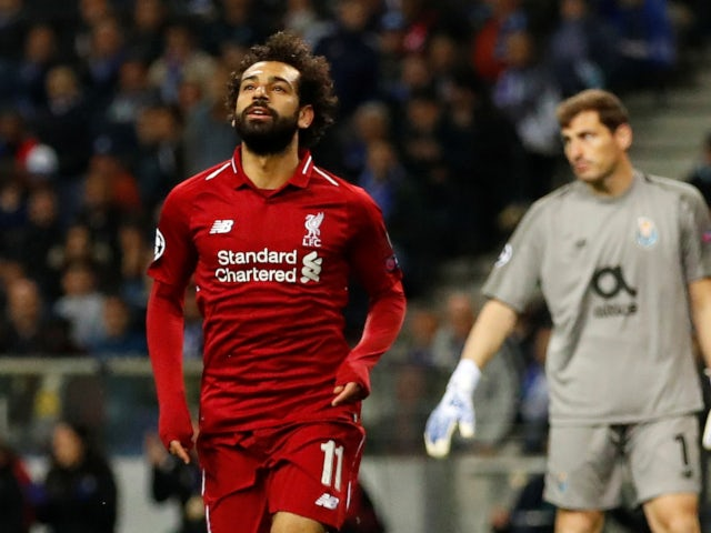 Liverpool's Mohamed Salah celebrates scoring against Porto in the Champions League on April 17, 2019.