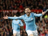Manchester City winger Bernardo Silva celebrates scoring against Manchester United on April 24, 2019