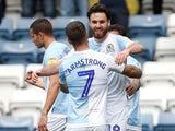 Blackburn Rovers' Ben Brereton celebrates scoring their first goal against Bolton on April 22, 2019