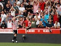 Brentford's Sergi Canos celebrates scoring their second goal against Leeds United on April 22, 2019