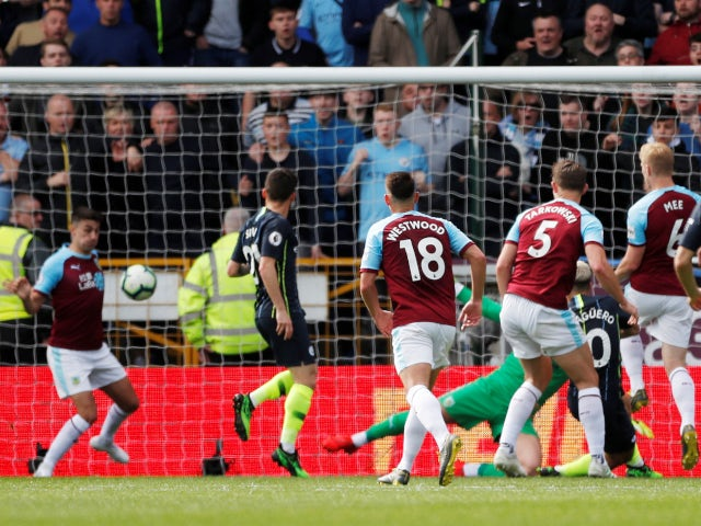 Sergio Aguero opens the scoring for Manchester City in their Premier League meeting with Burnley on April 28, 2019
