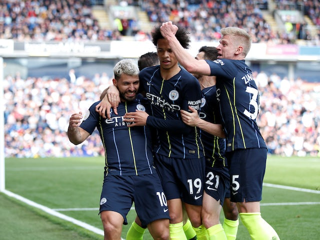 Sergio Aguero celebrates opening the scoring during the Premier League game between Burnley and Manchester City on April 28, 2019