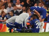 Chelsea's Callum Hudson-Odoi receives treatment after rupturing his Achilles against Burnley in the Premier League on April 22, 2019.