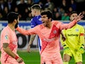 Barcelona's Carles Alena celebrates scoring their first goal against Alaves on April 23, 2019