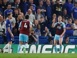 Ashley Barnes celebrates Burnley's second goal against Chelsea on April 22, 2019