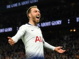 Christian Eriksen celebrates scoring for Spurs on April 23, 2019