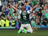 David Gray in action for Hibernian in May 2016