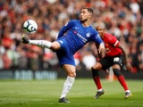 Eden Hazard in action during the Premier League game between Manchester United and Chelsea on April 28, 2019