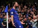 Chelsea striker Gonzalo Higuain celebrates scoring against Burnley on April 22, 2019.