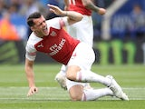 Granit Xhaka goes down during the Premier League game between Leicester City and Arsenal on April 28, 2019