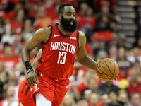 James Harden in action for the Houston Rockets on April 25, 2019