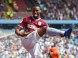 Jonathan Kodjia has a leg-based celebration after scoring for Aston Villa on April 22, 2019