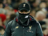 Reds boss Jurgen Klopp serving facekini during the Premier League game between Liverpool and Huddersfield Town on April 26, 2019