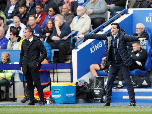 Brendan Rodgers and Unai Emery on the touchline as Leicester City play Arsenal in the Premier League on April 28, 2019.