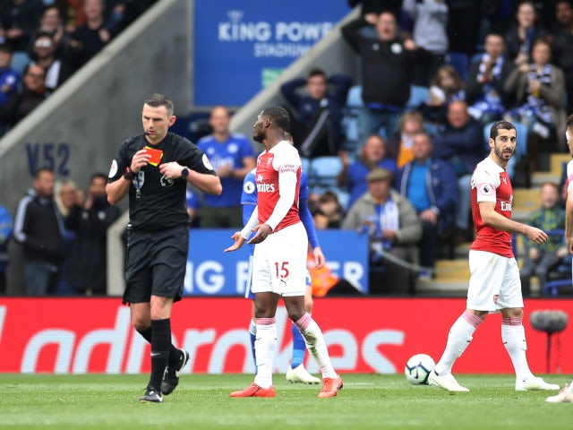 Arsenal's Ainsley Maitland-Niles questions his red card against Leicester City in the Premier League on April 28, 2019.