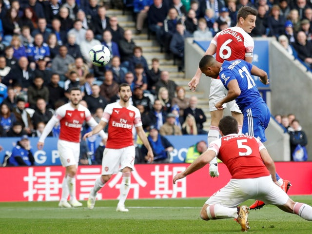 Leicester City's Youri Tielemans scores against Arsenal in the Premier League on April 28, 2019.