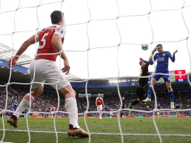 Leicester City's Jamie Vardy scores against Arsenal in the Premier League on April 28, 2019.