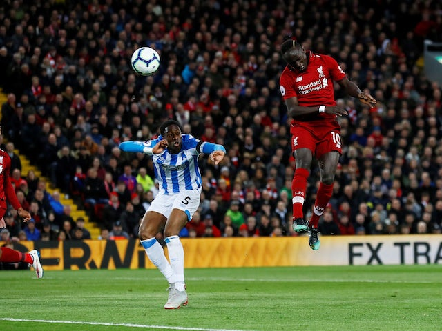 Sadio Mane nabs the second during the Premier League game between Liverpool and Huddersfield Town on April 26, 2019