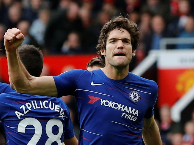 Marcos Alonso celebrates his equaliser during the Premier League game between Manchester United and Chelsea on April 28, 2019