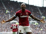 West Ham United's Michail Antonio celebrates scoring against Tottenham on April 27, 2019