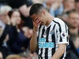 Newcastle's Miguel Almiron leaves the pitch in tears after suffering injury on April 20, 2019