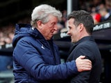 Crystal Palace manager Roy Hodgson and Everton manager Marco Silva before the match on April 27, 2019