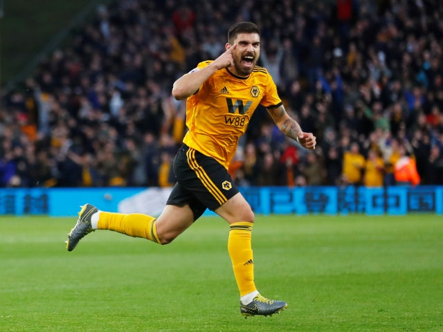 Wolverhampton Wanderers' Ruben Neves celebrates scoring a free kick against Arsenal in the Premier League on April 24, 2019.
