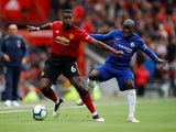 Paul Pogba and N'Golo Kante in action during the Premier League game between Manchester United and Chelsea on April 28, 2019