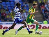 Reading's Ovie Ejaria in action with WBA's Sam Field on April 22, 2019
