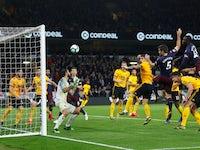 Sokratis Papastathopoulos scores for Arsenal against Wolverhampton Wanderers in the Premier League on April 24, 2019.