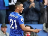 Youri Tielemans celebrates scoring during the Premier League game between Leicester City and Arsenal on April 28, 2019