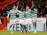 Celtic's Jozo Simunovic celebrates scoring their second goal with Mikael Lustig on May 4, 2019