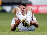 Fulham's Aleksandar Mitrovic takes a break on May 4, 2019