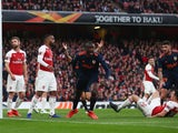 Valencia's Mouctar Diakhaby celebrates opening the scoring against Arsenal in their Europa League semi-final tie on May 2, 2019